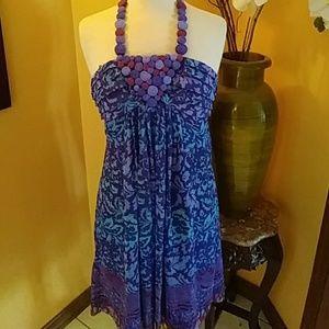 Adrianna Papell blue chiffon halter dress sz 4